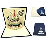 Her Kindness - Biglietto di auguri di compleanno, con candela rossa, busta gialla e biglietto di compleanno blu, ideale per compleanno