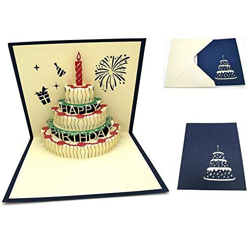 Her Kindness - Tarjeta de cumpleaños, diseño pop-up en 3D, con vela roja, sobre amarillo y tarjeta de cumpleaños azul