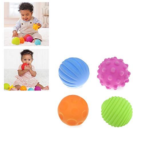 Apofly 4 Piezas Pelota De Masaje Con Textura Para BebéS NiñO Touch Hand Ball Toy Infantil Bolas Sensoriales Masaje Pelota De Ejercicio Suave Para El Aprendizaje Del Bebé 🔥