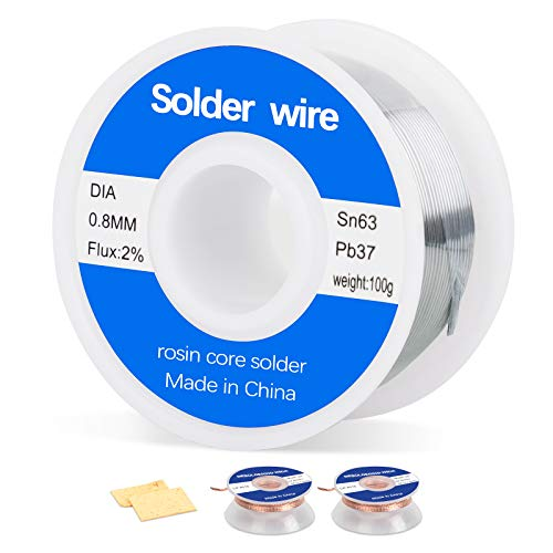 63-37 Tin Lead Rosin Core Solder Wire for Electrical Soldering (0.8mm 100g),2pcs Solder Wick No-Clean Solder Braid Wick Desoldering Wick(2.5cm Width, 1.5m Length),2pcs Soldering Sponge