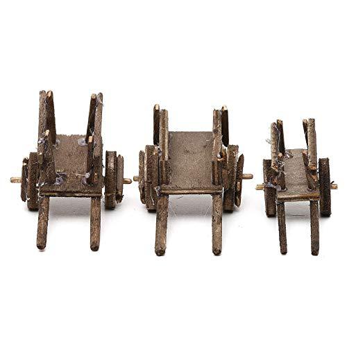 Holyart Set carretti in Legno Tre Modelli presepe Napoletano 4/6 cm
