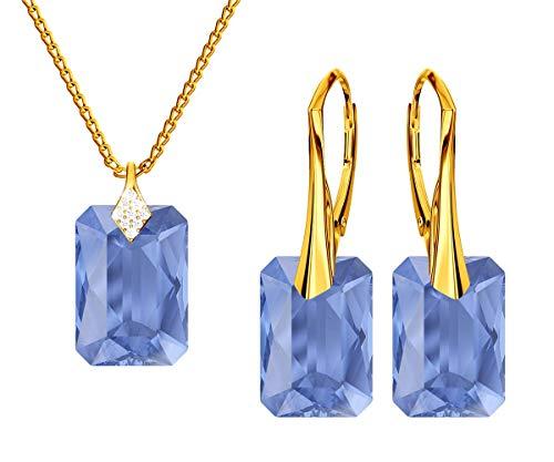 *Beforya Paris* Novedad esmeralda *Sapphir* - Plata 925 / Bañada en oro de 24 quilates - Joyas con cristales de Swarovski Elements - Pendientes y collar con caja de regalo