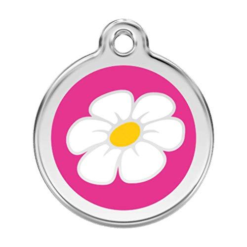 RedDingo enamel pet id tag, medium, 'Daisy', Hot Pink
