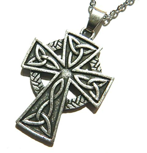 Celtic Knot Cross Catholic Crucifix Pewter Pendant on 18' Chain Necklace Ireland Irish Norse