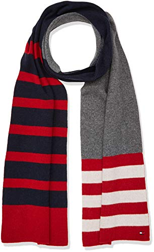 Tommy Hilfiger heren Seasonal Stripe Scarf sjaal, rood (Corporate 901), One Size (Manufacturer Maat: OS)