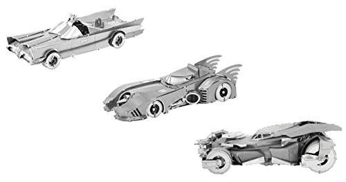 Fascinations Metal Earth 3D Model Kits Classic Batmobile, 1989 Batmobile, and Batman v Superman Batmobile - 3 Pack Bundle