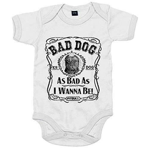 Body bebé frase perro raza Pitbull Bad dog as bad as I wanna be - Blanco, Talla única 12 meses