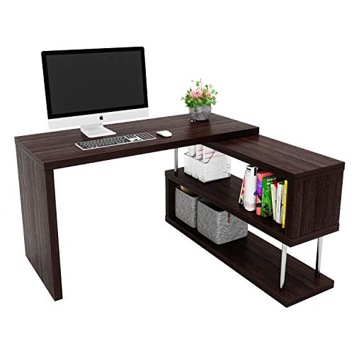 "Bestier Rotating L Shaped Computer Desk, 51"" Large Corner Office Desk with Open 2 Tier Storage Shelves, Lightweight Sturdy Hollow-Core Board Gaming L Desk Workstation for Home Office, Brown"