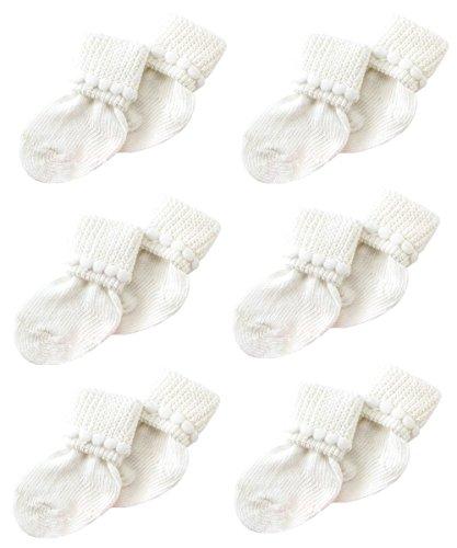 White Newborn Baby Socks By Nurses Choice - Includes 6 Pairs of Unisex Cotton Socks