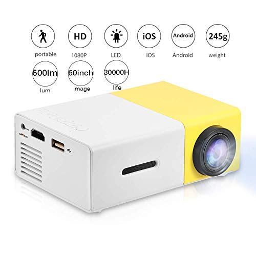 Mini Projector,Portable 1080P 600lm 4 : 3 LED Projector Home Cinema Theater Movie projectors Support Laptop PC Smartphone HDMI Input,Great Gift Pocket Projector for Party and Camping (Yellow&White)