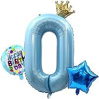 GRESATEK バルーン 風船 数字0 誕生日 ナンバー 大きい ハッピーバースデー 飾り付け パーティー サプラ イズ 記念日 子ども 約100cm 青 ブルー