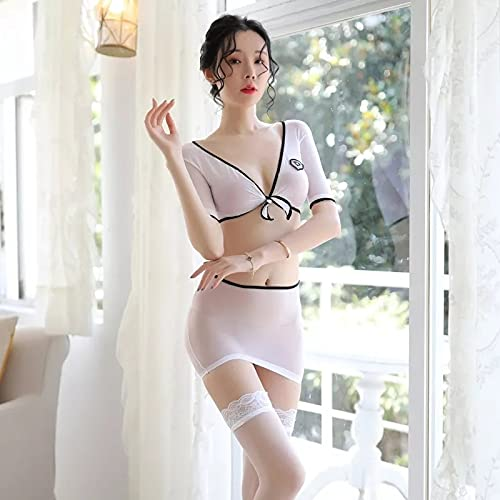 Wit doorschijnend kostuum rok cosplay bodysuit set uniform visnet outfit petticoat pyjama outfit ondergoed sexy hot girl sexy open visnet ondergoed dames kostuum mini rok