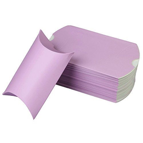 vLoveLife 100pcs Lavender Cute Pillow Kraft Paper Gift Boxes, 5'' x 3.5'' Wedding Favor Candy Box, Party Favor Gift Paper Boxes