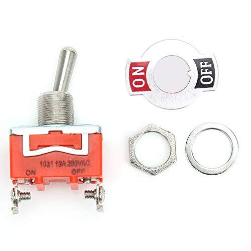 E-TEN1021 10PCS Mini interruptor de palanca duradero ON-OFF Interruptor de palanca de 2 posiciones y 2 pines AC 250V 15A Interruptor de palanca manual momentáneo para automóvil