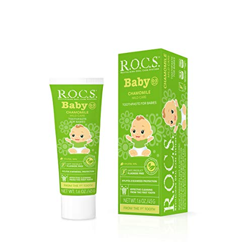 R.O.C.S. Baby Chamomile Toothpaste - Soft Protective Formula for Teeth and Gums - for Babies and Toddlers 0-3 Years Old - Helps Soothe Discomfort, Safe to Swallow - Natural, No Fluoride or Sulfate