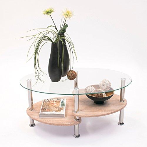 Homely - Mesa de Centro Ainara Roble con Cristal Ovalado y revistero de Madera, 90x55 cm