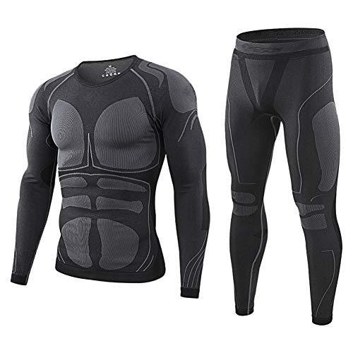 AORAEM Men's Winter Thermal Underwear Set, Compression Base Layer Sports Top, Bottom Thermal Long Johns Winter Gear Running Skiing