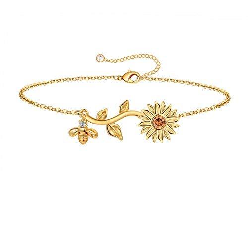 Pulseras de girasol con inicial para niñas y mujeres, chapado en oro de 14 quilates con diseño de girasol con inicial de abeja