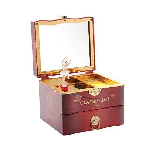 OMING Cajas Musicales Joyero de música Dulce con cajón extraíble y Caja de almacenaje de Joyas de Ballet Girl. Cajas Musicales y Figuras (Color : Brown)