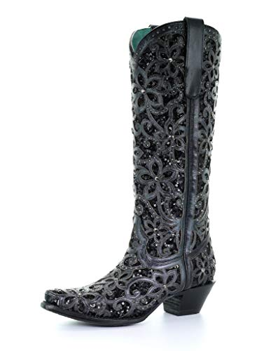Corral Ld Black Full Inlay & Studs Tall Top ,Size 9.5