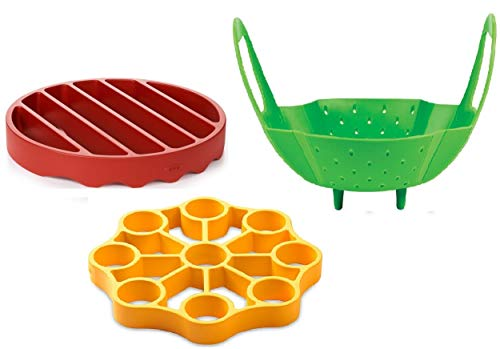 OXO Silicone Pressure Cooker Set 3 Piece Egg Steamer Basket Cooking Rack Red Yellow Green