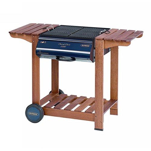 Outback trc2301/03–Barbecue a Carbone con Carrello, 113x 60x 81cm, Colore: Blu/Legno