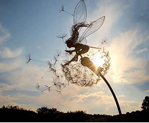 Everpert Elfe Metall Rost gartendeko ,29cm x Länge 91cm Fairy und Pusteblume groß Gartenstecker Rostoptik,Figur Rost Deko für Garten A