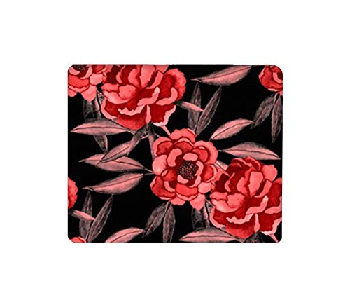 Mouse Pad Rectangular Mouse Mat Cute Mouse Pad with Design Non Slip Rubber Base Mousepad with Stitched Peonies Fashion