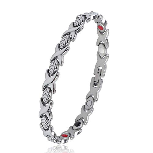 Sale!! iZion Women Magnetic Therapy Bracelet 4 Element Premium Stainless Steel Leaf Link Wristband G...