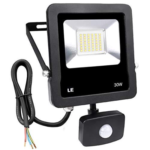 LE Foco Proyector Led Exterior con Detección de Movimiento, 30W, 2400lm IP65, Luces Sensible para garajes, parking, entrada, jardines, puertas etc