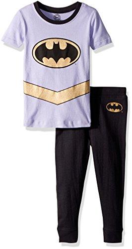DC Comics Girls' Toddler Batgirl 'Batman Gold Logo' Pajama Set, Multi, 5T