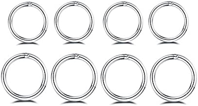 8Pcs Surgical Stainless Steel 16G Sleeper Cartilage Daith Tiny Small Hoop Earrings Mini Septum Hinged Clicker Nose Ring for Women Men Girls Helix Tragus Piercings 8mm 10mm Set Silver
