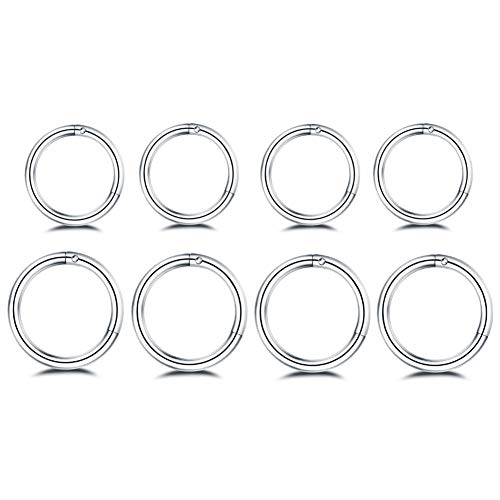 8Pcs Surgical Stainless Steel Sleeper Cartilage Daith Tiny Silver Small Huggie Hoop Earrings Mini Septum Hinged Clicker Nose Ring Helix Tragus Piercing for Women Girls Mens Boys 8mm 10mm Set 18g Gifts