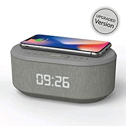 Bedside Radio Alarm Clock with USB Charger, Bluetooth Speaker, QI Wireless Charging, Dual Alarm & Dimmable LED Display (Grey)