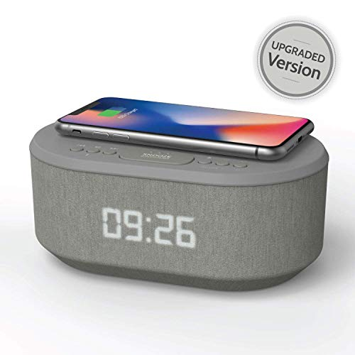 Bedside Radio Alarm Clock with USB Charger, Bluetooth Speaker, QI...