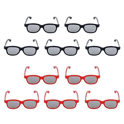 Pixnor Occhiali 3D passivo famiglia 5 adulti e 5 bambini CPL per TV cinema confezione da 10