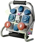Stromverteiler 32A 400V FI-SCHUTZ 1x 32A, 1x 16A, 6x 230V Schuko Stromstation Schutzkontakt-Stecker Baustromverteiler IP44 CE Kraftstromverteiler für Veranstaltungen Bau Camping Messebau Drehstromverteiler mit 2m Kabel H07RN-F 5G4 32 16 A 400 230 V