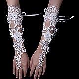 u/b Blanco corto guantes de boda mujeres sin dedos guantes de novia elegantes diamantes de imitación blancos guantes de encaje para nupcial accesorios de boda
