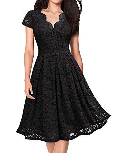 KOJOOIN Damen 1950er Vintage Brautjungfernkleider für Hochzeit Kurzes A-Linie Abendkleider, Schwarz (Kurze Ärmel), Gr.- M/38-40