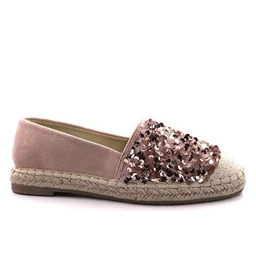Angkorly - Damen Schuhe Espadrille Ballerina - Strand - Böhmen - Kasual - Reversible Pailleten - Wildleder - Seil Flache 3 cm - Champagner OP97 T 38