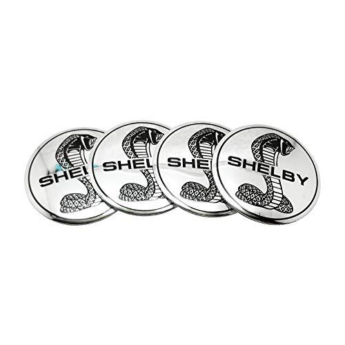 Pegatinas del centro del centro del centro de la rueda del coche 56.5mm Shelby Logo Sticker Logo Aluminio Emblema Insignia para Ford F150 Mondeo Kuga EcoSport Mustang V6 Escape Auto Styling Decor tapa