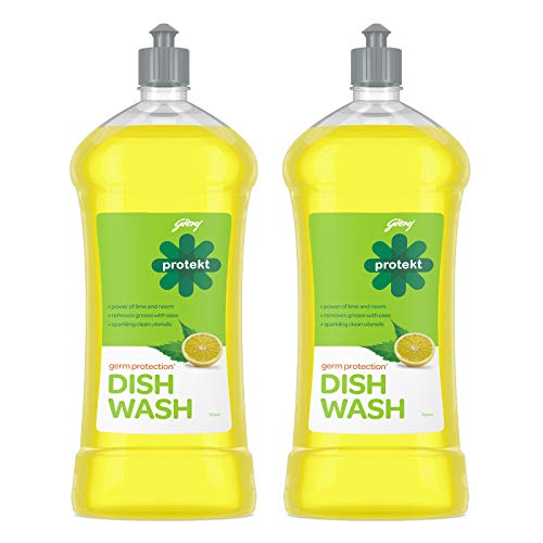 Godrej Protekt Germ Protection Dishwash Liquid Gel - Pack of 2 - 750 ml each, 99.9% Germ Protection, with Lime & Neem, Removes Tough Grease