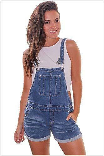 Damen Denim Style Aufrollbare Manschetten Button-Down-Kreuzmuster Kurze Latzhose,Blue,M