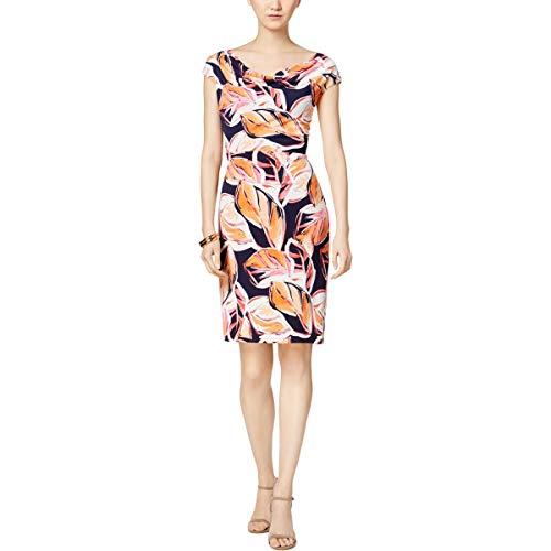 Jessica Howard Damen Printed Drape Neck Dress Freizeitkleidung, Korallenrot, 44