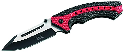 Herbertz Couteau Pliant - Acier AISI 420 - Liner Lock - Revêtement partiel Noir - Manche en Aluminium - Clip
