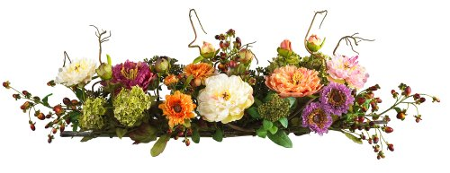 Nearly Natural Mixed Mini Peony Centerpiece Silk Flower Arrangement