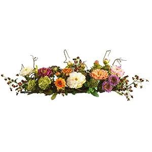 """Silk Flower Arrangements Nearly Natural 4665 Mixed Mini Peony Centerpiece Silk Flower Arrangement,26"""" x 8.25"""" x 7"""""""