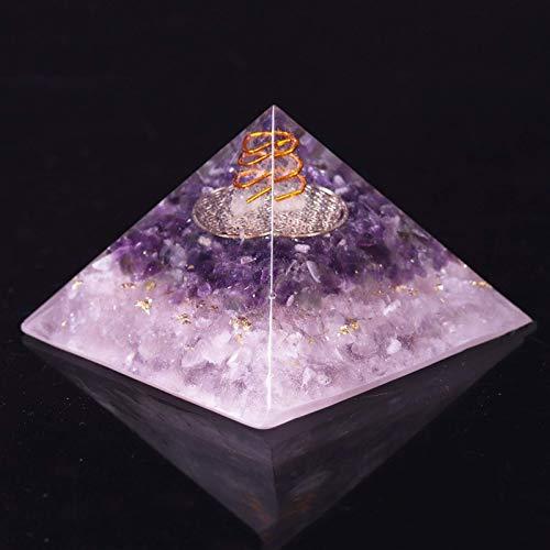 Decoraciones Familiares Pirámide de orgonita, Amatista Natural, Cuarzo Rosa, energía, Chakra de orgón, Resina, decoración Artesanal, Regalo de Buena Suerte (Size : 8cm)