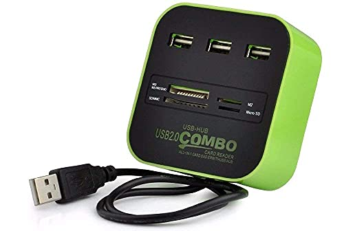 Famous Quality Combo All in One External Memory Card Reader with 3 Ported USB Hub for MS/PRO Duo SD/MMC M2 Compatible with PC/Docking Station & MP3s, (Multi-colour)