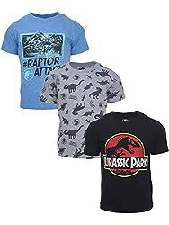3. Jurassic Park Boys Multicolored Dinosaur Shirts (3 pack)